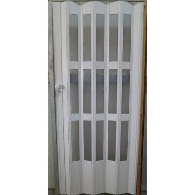 Üvegkazettás harmonika ajtó fehér