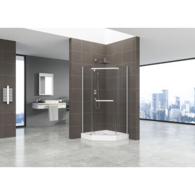 Ötszögletű üveg zuhanykabin tálcával sima 90x90x185