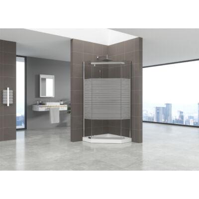 Ötszögletű üveg zuhanykabin tálcával csíkos 90x90x185
