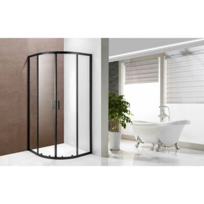 Ívelt fekete szegélyű zuhanykabin 90x90x190 A1211B
