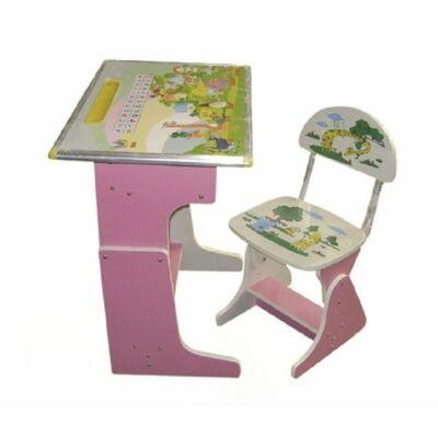 Gyerek számítógép asztal szett fából pink