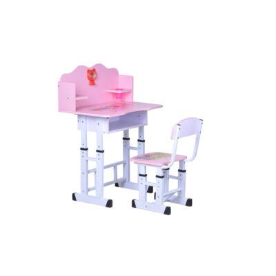 Gyerek számítógép asztal szett fémvázas pink