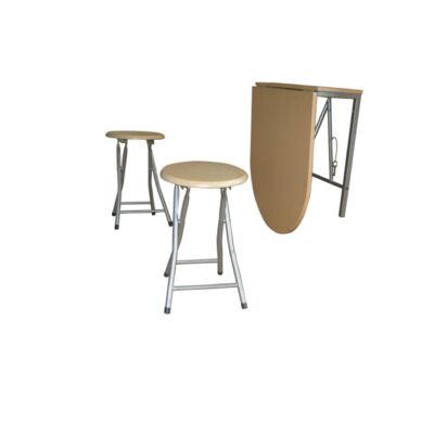 Nápoly lehajtható asztal+2 szék bükk