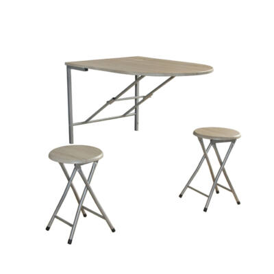 Nápoly lehajtható asztal+2 szék fehér tölgy