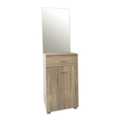 Demi előszoba szekrény tükörrel fehér tölgy
